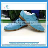 Light Blue Lady's genuine leather brogue boots british style customized women shoes brand New design