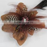 Girls Women Boutique Flower brooch Hair Bow Clips Brooch Feather Brown