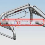 "3"" Stainless Steel Roll Bar with side handrail and elliptical circle for Toyota Hilux Vigo"