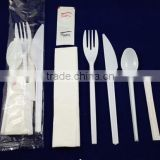 Hot aviation plastic cutlery with salts and toothpick napkin set