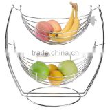 Chrome 2 Tier Fruit Metal Basket Rack Display Stand