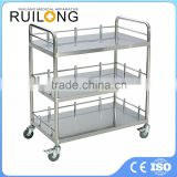 Cheap Easy Cleaning 2-tier Hospital Stainless Steel Trolley