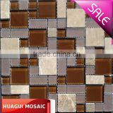 Frosted glass mix polish coffee marble mosaic tiles