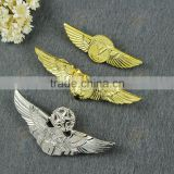 zinc alloy pin bage,wing pin badge,plated gold pin badge,silver lapel pin,pilot wing pins,military badge,cap badge