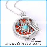DIY silver round hollow fragrance oil diffuser necklace pendant wholesale fashion Aromatherapy necklace