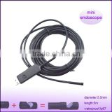 mini portable 5.5mm dia length 5m waterproof camera micro usb monitor for ent endoscope