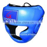 Training and Competition Fine Quality Leather Velcro Closure Extra Filling Hand Crafted Padding Blue Kick Boxing Head Guard