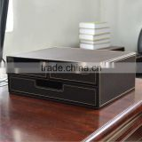 Alibaba wholesale office stationery, drawer storage box, black leather pencil case
