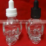 15ml/30ml/50ml Skull Head Glass Eliquid Bottle with Child Proof Dropper
