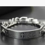 Custom Bible words cross design chain bracelets mens cross religious bracelets jewelry for Christian's Gifts