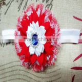 Delicate Rhinestoned Centered Shabby Flowers Baby Girls 4th of July Head Band For Hair Accessories