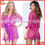 Long sleeve sexy mesh floral lace robe fashion bathrobe with scalloped trim