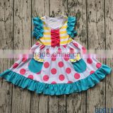 Boutique Remakes Kids Wears Pretty Little Girls Flutter Ruffled Sleeves Dresses with Pocket GD911
