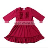2017 wholesale children's boutique dress plain bibs knit cotton posh frock design for baby girl