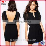 New arrival cup sleeve cut out back black chiffon evening dresses china