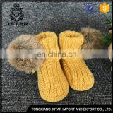 2017 New Winter Hand Crochet Cute Shoes Baby Booties With Fur Pompom