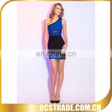 2014 one shoulder black bandage lace cocktail dresses blue