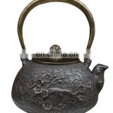 art carved Japanese cast iron teapot-The plum blossom