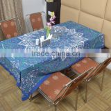 Indian Cotton Table Cloth Blue Star Multicolored Printed Dinning Table Cloth Vintage Wall Hanging Throw Bed Sheet Cover TC69