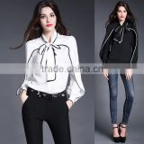 2015 new design bow silk shirt boutique brands blouse pattern Europe hit the color long-sleeved shirt blouses