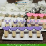 Mini Wooden Love Heart Pegs Photo Paper Clips Wedding Decoration Craft