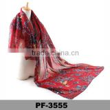 Women's Various Flowers Voile Long Scarf Sarong Wrap Beach Cover Up