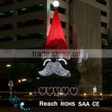 2016 New design large metal santa claus hat shape with led lights christmas tree for outdoor commerical decoration