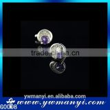 Fashion Jewelry Wedding Shirt Silver Plated Cheap Purple Crystal Cufflinks G0008