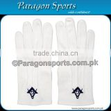Masonic Regalia Gloves White Cotton Embroidery Logo With Square and Compass in Blue color