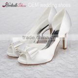 High quality handmade wholesale satin dress shoes white bridal satin shoes bridal high heel shoes
