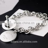 Wholesale stainless steel silver charm bracelet round disk Bracelet with T clasp 9311