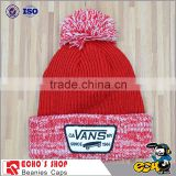 wholesale custom beanie your own embroidery logo woven label 100% acrylic pom pom beanie hat/knitted beanie in winter hat