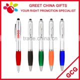 Customized Logo Cheap Promotional Stylus Touch Screen Ball Point Pen with Painted Rubber Grip