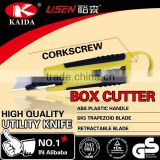Plastic rubber grip handle Auto Retractable Safety Box Cutter knife