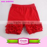 Baby clothes OEM baby boys wholesale 2016 girls red icing shorts toddler ruffles shorts size 4 T solid colors cotton kids shorts