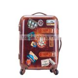 Gentleman's Hard Shell Vintage Trolley Luggage With Belts 2-Side Printing In 20-Inch                                                                         Quality Choice