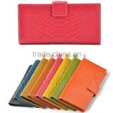 Fashion New Women Genuine Leather Purse Crocodile Pattern Candy Color Clutch Bag Long Wallet