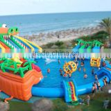 adults and kids water playground games inflatable pool with slides combined