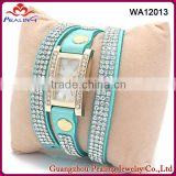 Wholesale jewelry bright blue color crystal rhinestone finding watch wrap leather bracelet for lovely girls