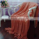 Hot sale cable knitted throw blanket with fringe