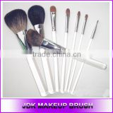 High quality 8 piece silver copper transparent acrylic makeup brush set Private label cosmetic Powder Blush Eye Lip brushes
