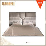Italy New Classic Luxury Bedroom Furniture King Size Bed/ Elegant Beige Fabric Upholstery Top Quality Wedding Bed