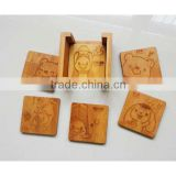 Custom Engraved Bamboo Coasters set, hot mats & pads, Table Decoration & Accessorie
