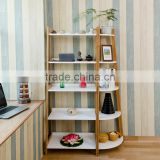 White panel modern bamboo corner shelf for display
