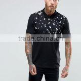 High Quality Custom Printed Design Short Sleeve Button Placket Black Tie Dyed Men's 100% Polyester Slim Fit Casual Polo Shirt