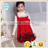 Fall children flower woolen dress for baby girl wool dress kids polka dot party dress