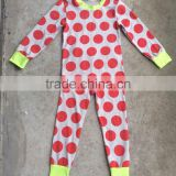 baby girls winter wear 2pcs cotton Christmas red polka dots pajama set cheap kids clothes kids cotton pajama sets