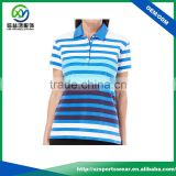 OEM sublimated printed stripes design ladies golf polo shirts factory