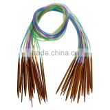 Custom (2.0mm-10.0mm)Carbonized Bamboo & Plastic Multicolor Circular Knitting Needle