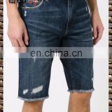 Blue cotton and leather imitation old denim shorts Wear the details wear and tear on 2017 new design